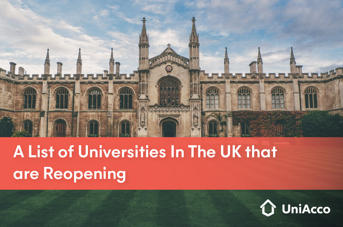 A list of Universities in the UK that are reopening